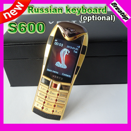 2013 New Arrival Luxury Metal phone Snake S600 gsm dual sim dual standby with leatheer box package support russian keyboard