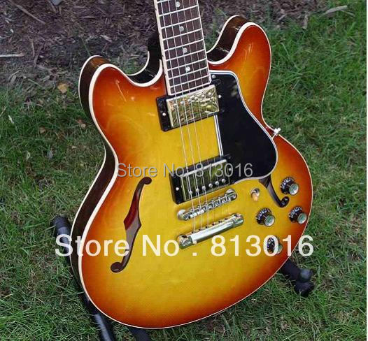 Best selling Hot 2006 ES-335 Figured Top Electric Guitar  , ES335 Electric Guitar Honey burst finisehd (Free shipping)