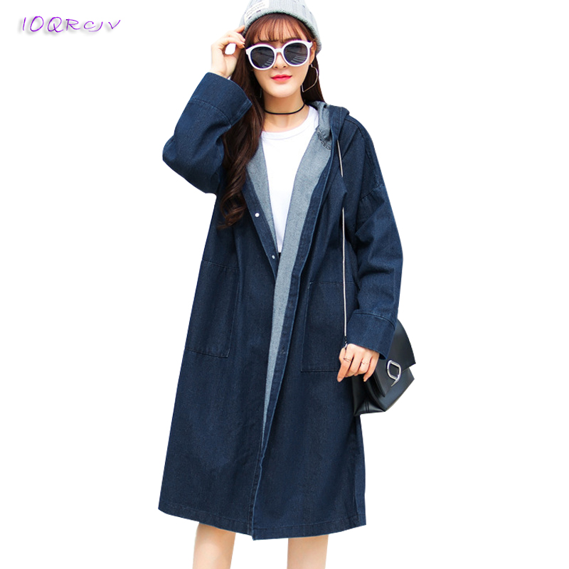fashion spring coat 2018 women Casual Denim   trench   coat elegant Loose Large size female coat women long coats tops IOQRCJV T163