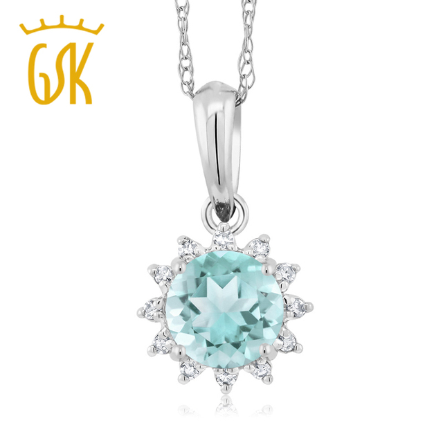 Gem stone king 18k white gold 050 ct round sky blue topaz diamond gem stone king 18k white gold 050 ct round sky blue topaz diamond pendant with chain aloadofball Image collections