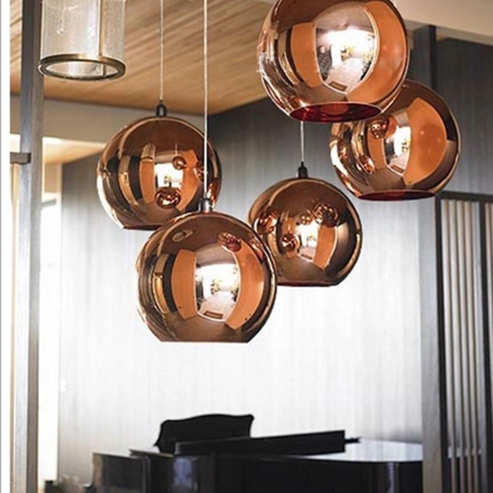 Fashion Copper Globe Shape Pendant Light Glass Material Brief Novelty Dia 20cm/25cm/30cm w/ 1.5m Wire Hanging L& E27 LED-in Pendant Lights from Lights ... & Fashion Copper Globe Shape Pendant Light Glass Material Brief ...