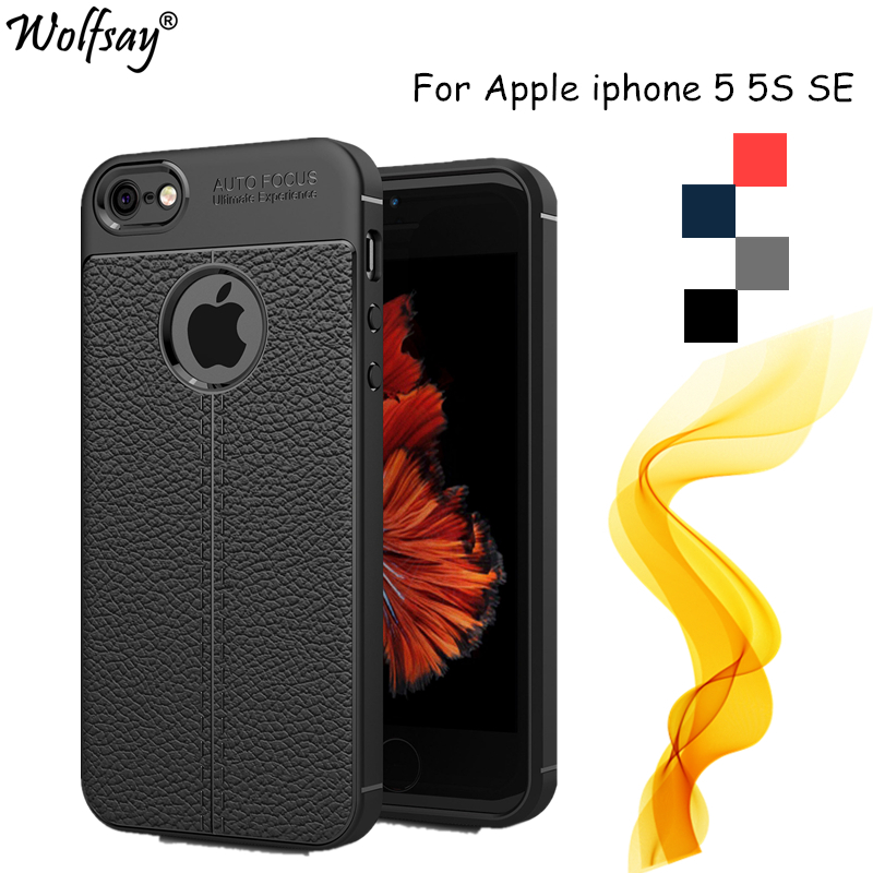 Wolfsay sFor Case iphone 5S Case Lmitation Leather & TPU Soft Phone Case For iphone SE Cover For Coque iphone 5S 5 SE Cover Capa