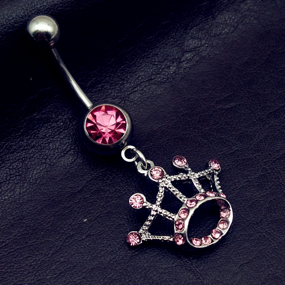 Stainless Steel Clear Crystal Belly Button Navel Rings Long Dangle Crown Bar