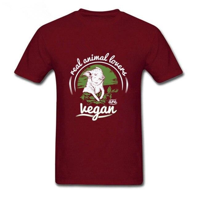 Men's madrid Funny Real animal lovers are Vegan Shirt Custom 2019 Vegan print Boyfriend's T-shirts