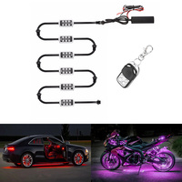 RGB LED Wireless Remote Control Car motorcycle light atmosphere Lamp with smart stop brake light Accent Neon Style Light Kit