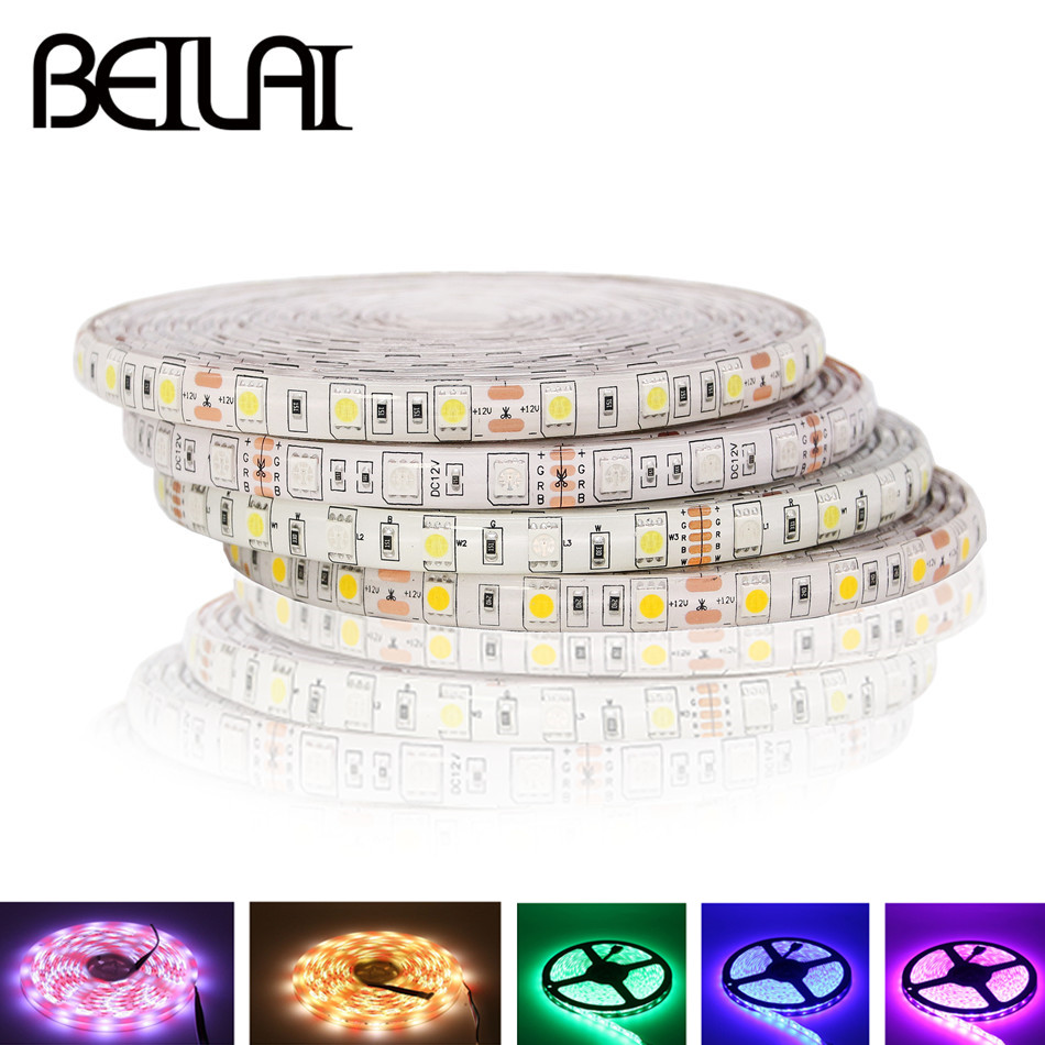 BEILAI SMD 5050 RGB LED Strip Waterproof 5M 300LED DC 12V RGBW RGBWW Fita LED Light Strips Flexible Neon Tape Luz Monochrome zdm waterproof 72w 200lm 470nm 300 smd 5050 led blue light strip white grey dc 12v 5m