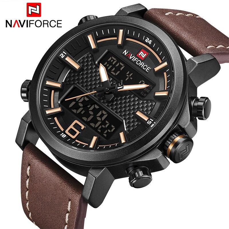 De luxe Marque NAVIFORCE Hommes Militaire Quartz de Montres Hommes Date de LED Analogique Numérique Montre Homme Casual Sport Horloge Relogio Masculino