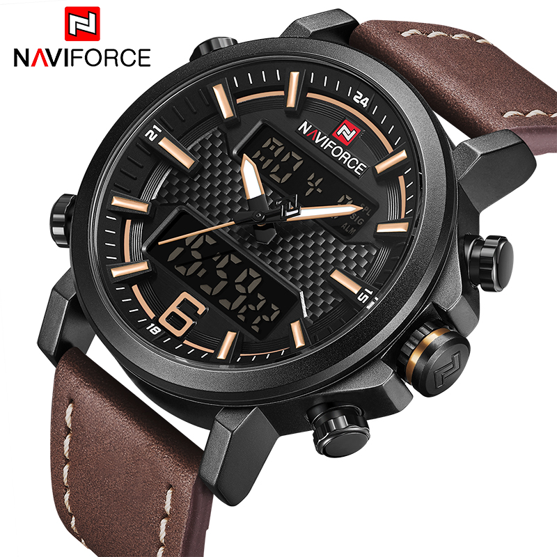 Luxury Brand NAVIFORCE Men Military Quartz Watches Men's LED Date Analog Digital Watch Male Casual Sport Clock Relogio Masculino naviforce new luxury men led quartz watch men s fashion military sport watches male date digital analog clock relogio masculino