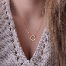 New Fashion Geometric Round Circle Pendant Necklaces Minimalism Women Accessories Short Chain Necklaces Party Jewelry Gift NB602(China)