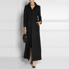 Fashion Slim Single Breasted Women Ultra Long Woolen Jacket Black Ladies Extra Long Wool Coat