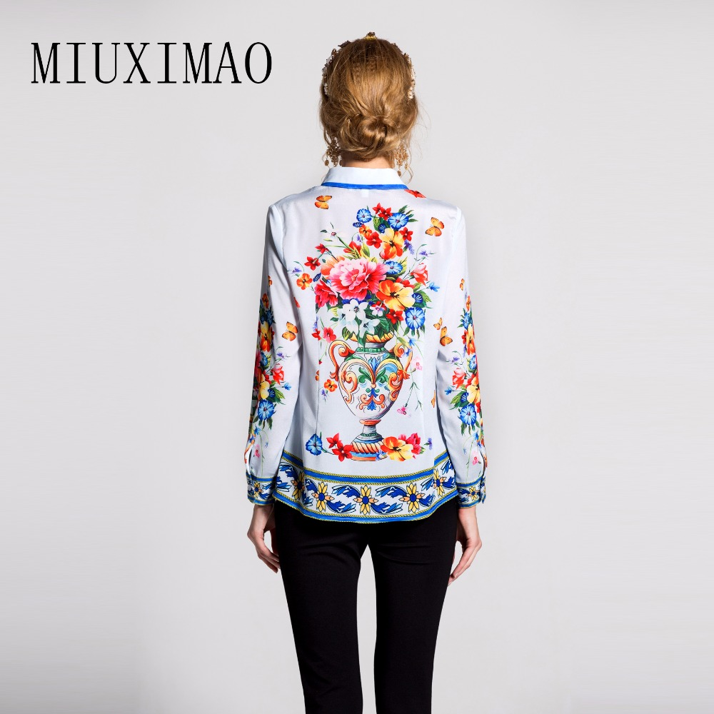 New Printed Animal Elegant Long 2017 Casual Quality Blouses Women Arrival Europe Style High Sleeve Latest down Collar Turn Shirt r7764PWc
