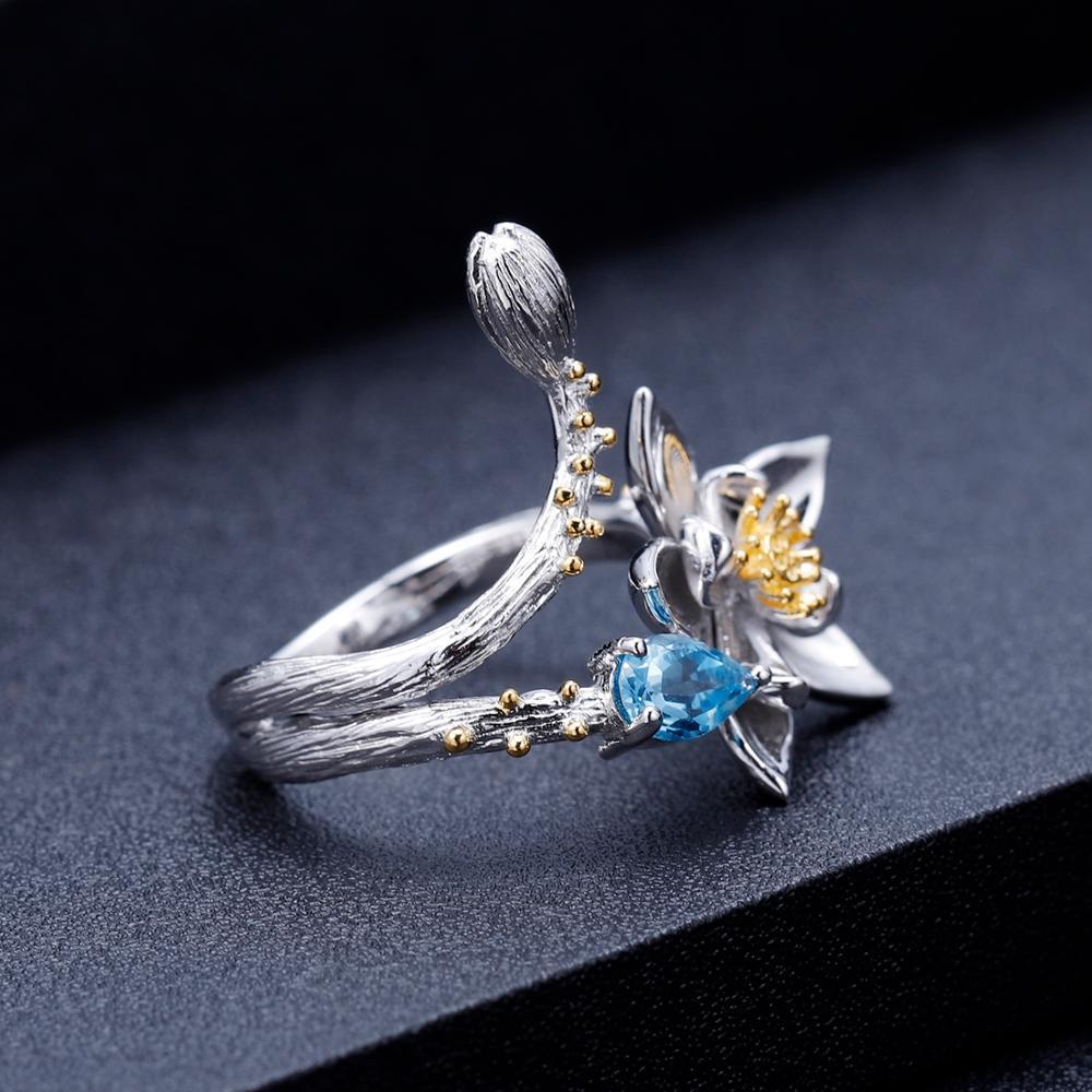 Image 3 - GEMS BALLET Natural Swiss Blue Topaz Gemstone Ring 925 Sterling  Silver Handmade Flowers Adjustable Open Rings for Women BijouxRings