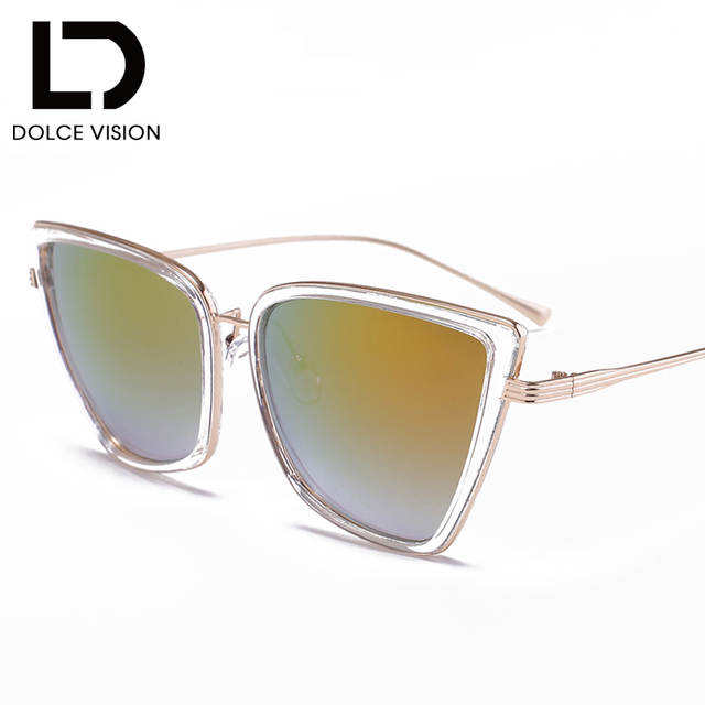 0c57b4c4f9 DOLCE VISION Sun Glasses for Women Sunglasses Cat Eye Female Coating  Fashion Shades Sunglass High Quality