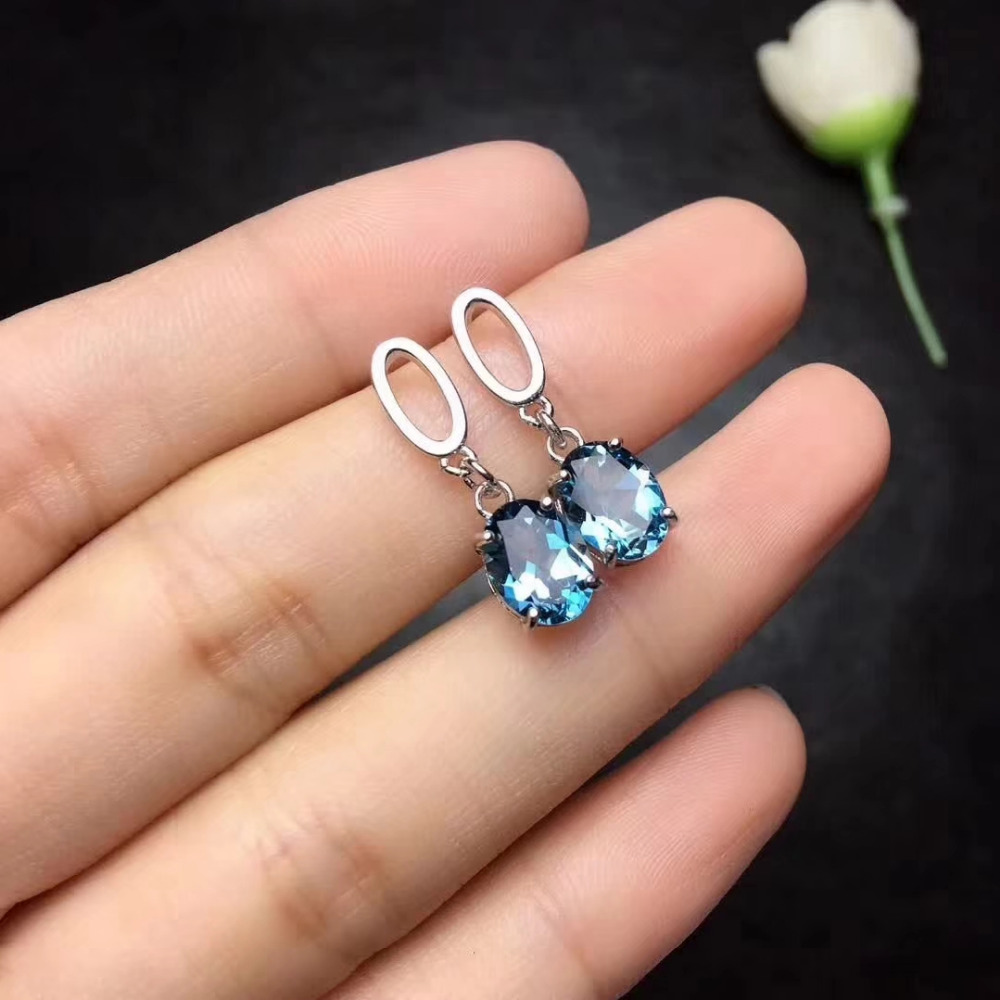 natural blue topaz drop earrings 925 silver Natural gemstone women fashion Elegant round drop earrings jewelry for woman party triangle round drop earrings