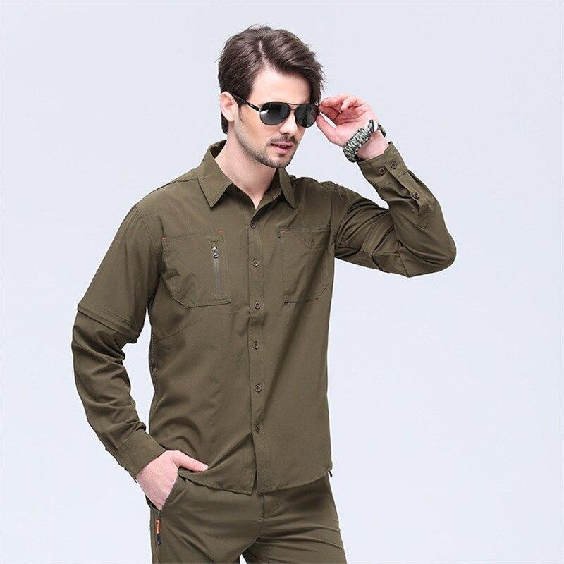 Chemise homme couleur pleine hauts armée militaire manches longues coton Fitness séchage rapide chemise manches longues protection UV Top marque