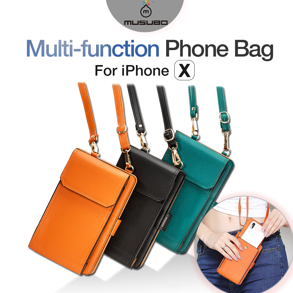 Universal Leather Cell Phone Bag Shoulder Pocket Wallet Pouch Case Neck Strap Fit For Smaller Than 5.8 Inches Phone Model