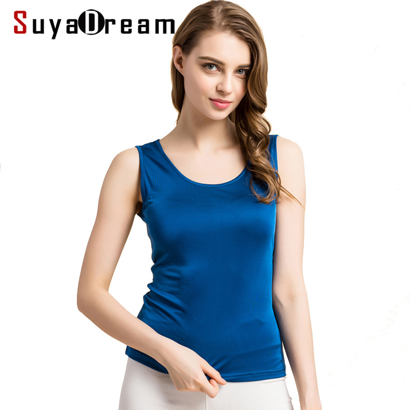Women Tanks 100% Real Silk Solid Basic Vest O-hals t-shirt Ærmeløs nederdelst shirt 2018 Sommer Ny toppe Sort Hvid Grå