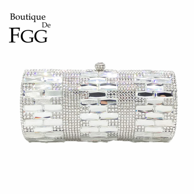 Luxury Clear Silver Crystal Evening Bags Women Party Dinner Clutch Bag Wedding Bridal Metal Clutches Rhinestones