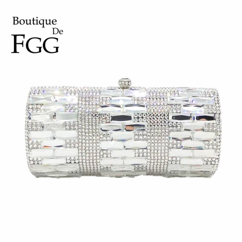 Luxe clair argent cristal sacs de soirée femmes partie dîner pochette de mariage mariée en métal embrayages strass sacs à main sacs à main