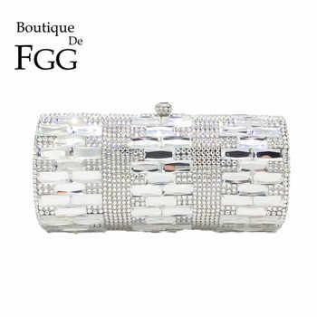 Luxury Clear Silver Crystal Evening Bags Women Party Dinner Clutch Bag Wedding Bridal Metal Clutches Rhinestones Handbags Purses - SALE ITEM Luggage & Bags