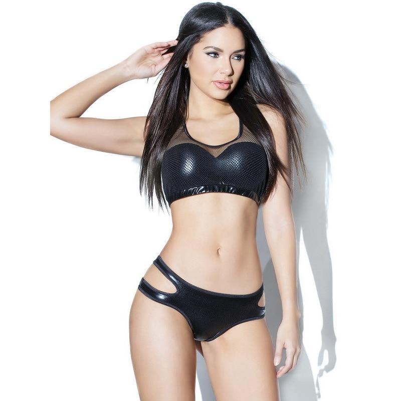 Sexy Women Lingerie Set Exotic Leather Mesh Underwear Elastic Band Tank Crop Bra Hollow Panties Vinyl Nightwear G String Bra