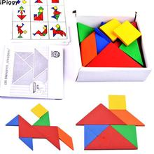 iPiggy Colorful Wooden Tangram Brain Teaser Puzzle Toys Tetris Game Preschool Magination Intellectual Educational Kid Toy Gift