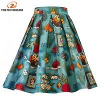 Imprimé floral vintage femmes jupes filles d'été coton taille haute A-ligne vintage 1950 s plissée balançoire saia midi jupe