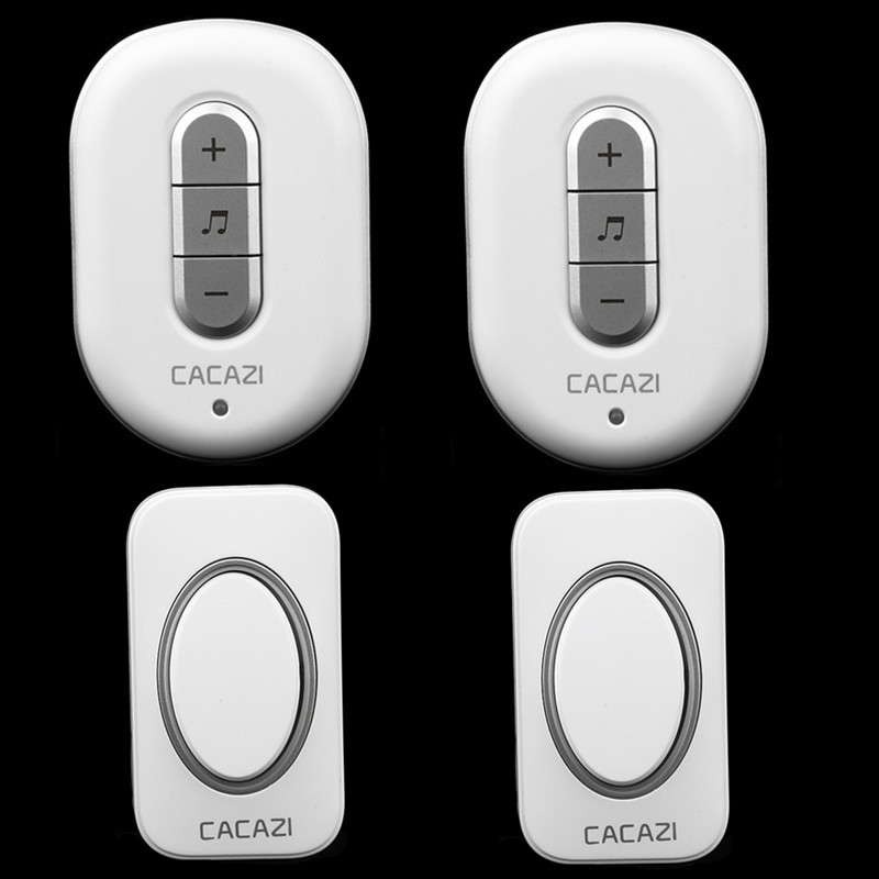 цена на CACAZI C9918 wireless doorbell AC 110-220V 2 transmitters+2 receivers,2 colors,48 ringtones,6 volume,280M remote door bell