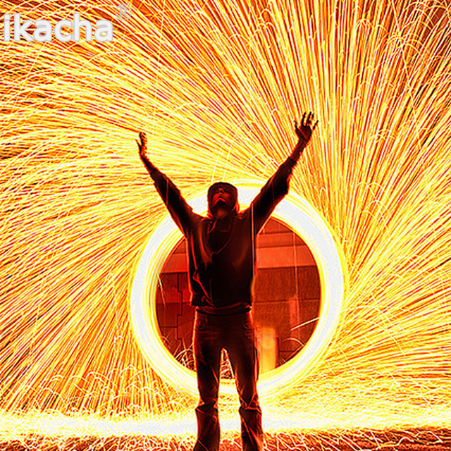 Trending Photography spektakularne ogniste zdjęcie Selfie Tool wełna stalowa wysokiej jakości włókno metalowe do lekkiego malowania długa ekspozycja