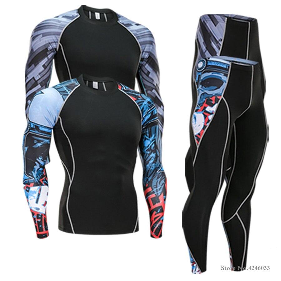 2018 Brand Thermal Underwear Men underwear sets compression sport fleece sweat thermo underwear men Fitness clothing