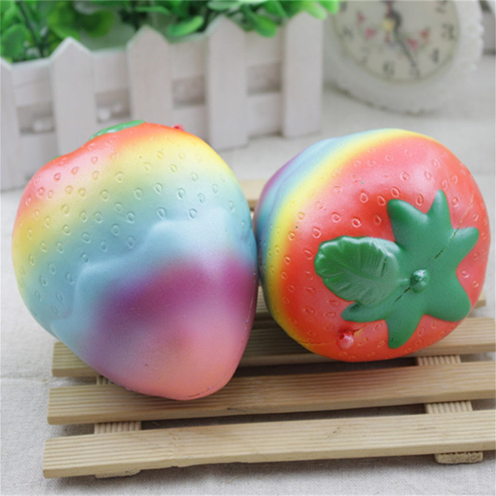 Colorful Strawberry Squishy Slow Rising Squeeze Phone Straps Ballchains Toys Education Toy Baby Toys & Games Children
