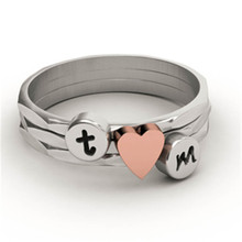 EVBEA Custom Initial Ring Antiuqe Stackable Knuckle His and Hers Weeding Ring Sets with Rose Gold Heart (DIY alphabet A~Z)