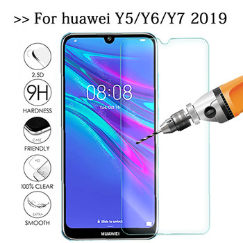 Protective Glass For huawei y5 y6 y7 2019 screen protector on huawey huawe y 5 6 7 5y 6y 7y pro prime tempered glas safety Film image