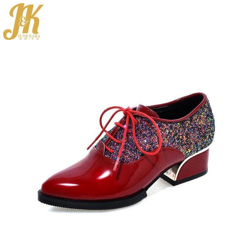 Fashion Patchwork Women Pumps 2016 Lace Up Glitter Shoes Platform Shoes Woman Pointed Toe Hoof Med Heels Size 34-43 Women Shoes
