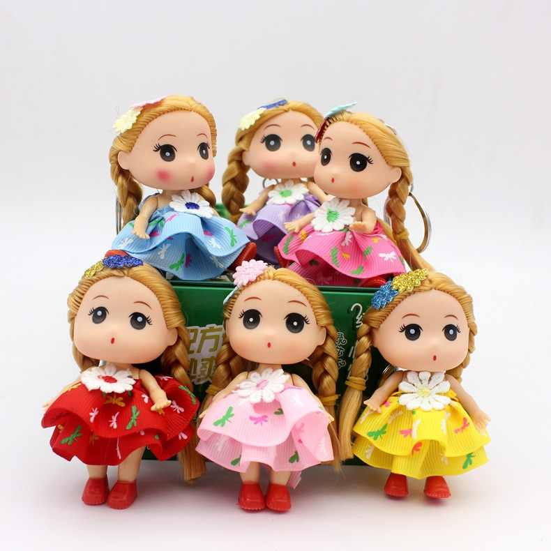 9CM flower skirt Princess bride confused doll fat baby key chain bag pendant wedding dress creative gift doll toy