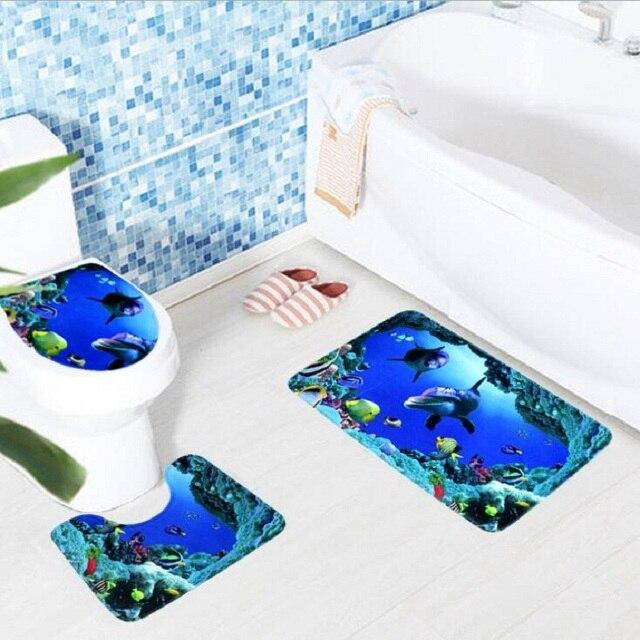 3 pz Bagno Zerbino s Dell'oceano Underwater World Anti Antiscivolo Wc Modello Tappeto Bagno Zerbino Flanella Wc Zerbino per Tre set di Vasca Da Bagno Zerbino