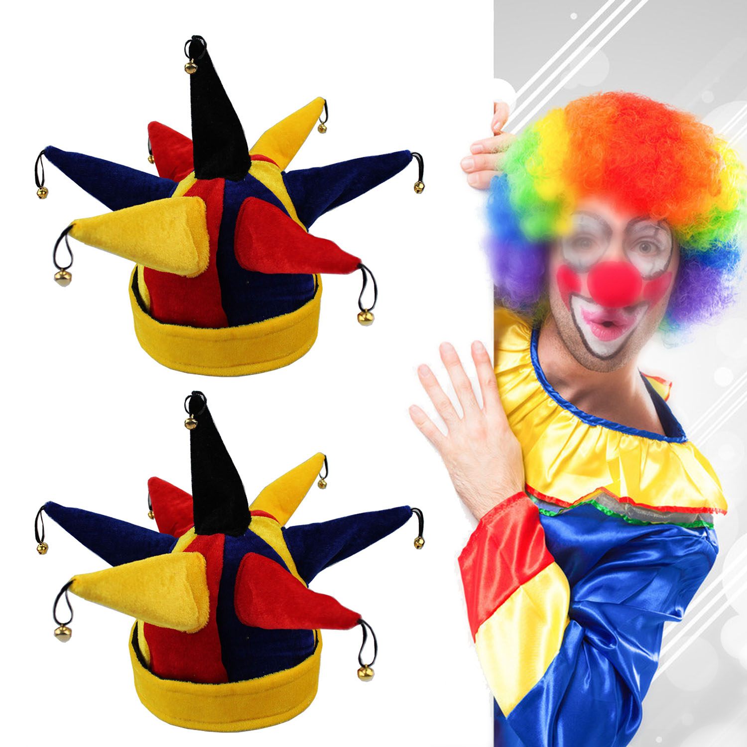 Behogar Funny Multicolor Jester Clown Hat Caps for Halloween Christmas Mardi Gras Party Costume Props Favors Decoration costume hat