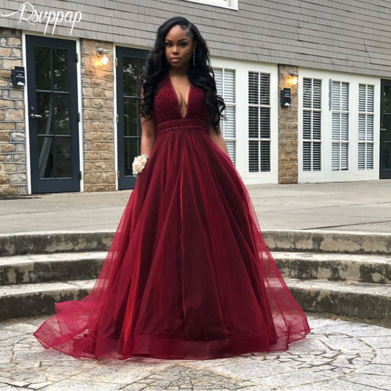 Long   Prom     Dresses   2019 Gorgeous A-line V-neck Top Pearls Elegant African Girl Burgundy Tulle Party   Prom     Dress