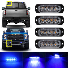 Blue 4LED Car Truck Emergency Beacon Warning Hazard Flash Recovery Strobe Light BARS 12V  waterproof