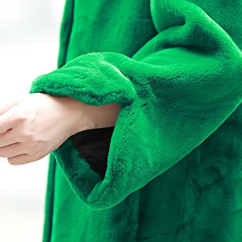 Hiver Manteau Vêtements Black Fourrure Qualité Longue Debout Hf371 Col En Unie 7xl Tailles D'extérieur green 6xl 5xl Femmes Couleur Manche pink Fausse Grandes Lâche Supérieure Yq66wB