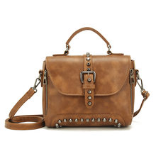 9bbbfcf5d6 New Rivet Women Handbags brands Vintage Women Messenger Bags Fashion PU  Leather Women Bag Crossbody Wheels