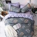 Роскошные постельные принадлежности с изображением листьев серого и золотого цвета комплекты постельного белья с геометрическим узором п...