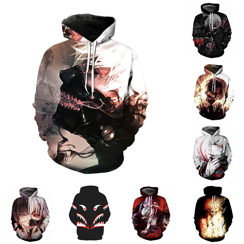 Anime Tokyo Ghoul Cosplay Costumes Ken Kaneki Hoodies 3D Print Daily Leisure Hoodie Hoody Casual Coat 3D Sweatshirts Hooded Coat