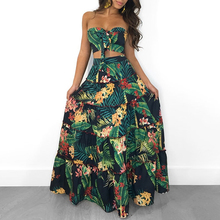 2019 Summer New Fashion Sexy Women Strapless Two Pieces Dress Suit Set Tropical Print Tube Top&Maxi Skirt Set stylish cami tropical print women s maxi dress