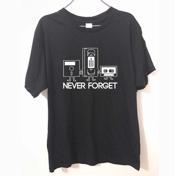 Fashion New T-shirts Men Short Sleeve Never Forget Floppy Disc VHS Cassette Tech Geek Print T Shirts Male Undershirts Tshirts image