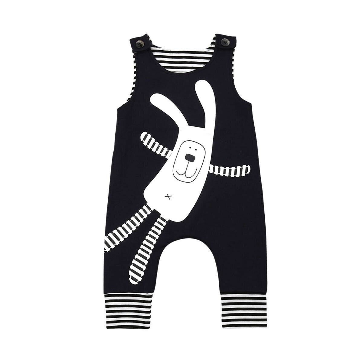 Toddler Baby Boys Girls Easter One-piece Pants Big Rabbit Striped Dark Blue Sleeveless   Romper   Jumpsuit Newborn Clothes 0-2Y