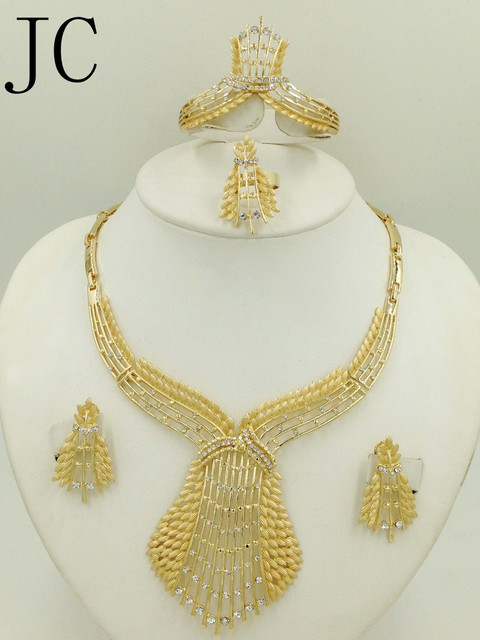 2016 Hot Sale Nigerian Wedding African Beads Jewelry Sets Fashion Women Dubai Gold Plated Jewelry Set Wholesale Costume Design