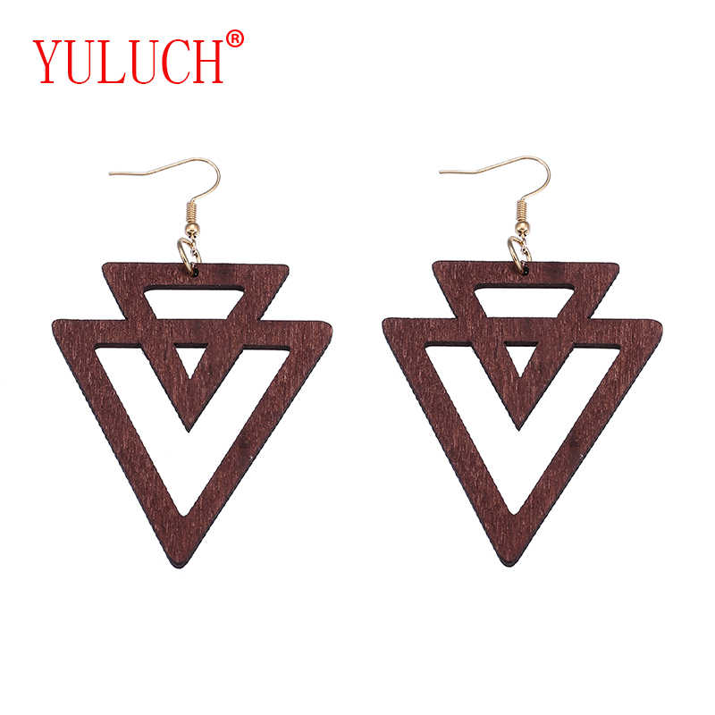 YULUCH African Ethnicity Personality Woman Natural Wooden Pendant for Double Reverse Triangle Stitched Cutout Jewelry Earrings