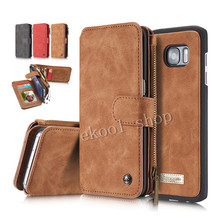 Luxury Genuine Leather phone cases For Samsung S7/S7 edge with Zipper Wallet Card Multifunction phone back covers Hot