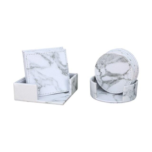 Fournitures de bureau en marbre PU cuir organisateur de bureau définit stylo porte-boîte de rangement boîte à mouchoirs tasse coaster 3 pièces/ensemble nouveauté 3